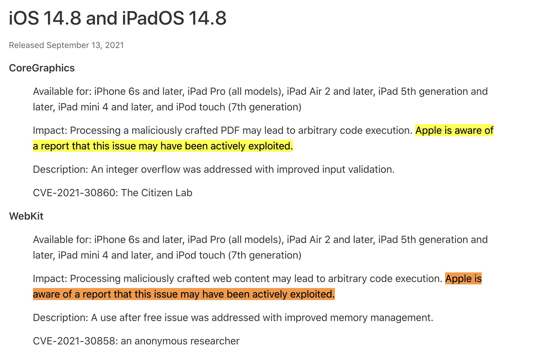 Apple releases updates to all iOS/iPad devices to fix security vulnerabilities
